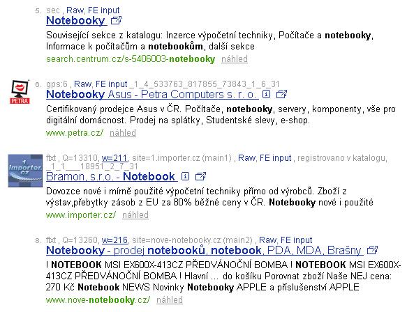 některé typy výsledků v debug módu vyhledávání Centra